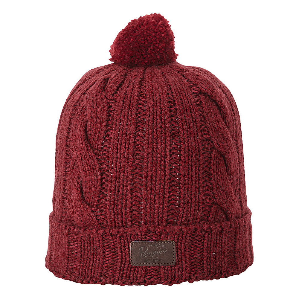 Original Penguin Albert Watchcap with Pom Pomegranate Original Penguin Hats Gloves Scarves
