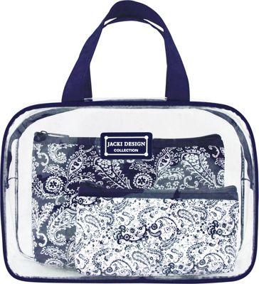 Jacki Design Mystique 3 Piece Cosmetic Bag Set Blue - Jacki Design Women's SLG Other
