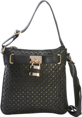 Rebecca & Rifka Faux Leather Perforated Crossbody Black - Rebecca & Rifka Manmade Handbags