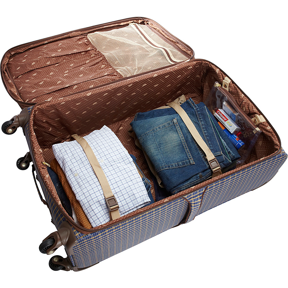 "London Fog Kensington 29"" Expandable Spinner Bronze - London Fog Softside Checked"