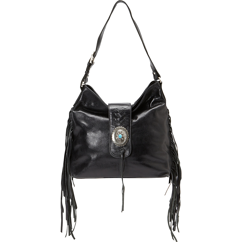 American West Seminole Soft Slouch Shoulder Bag Charcoal American West Leather Handbags
