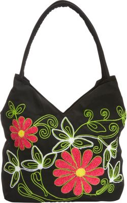 Image of Bamboo 54 Embroidered Hobo Flowers - Bamboo 54 Fabric Handbags