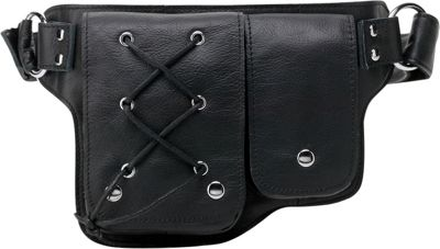 Vicenzo Leather Yvette Leather Waist Pack Black - Vicenzo Leather Waist Packs