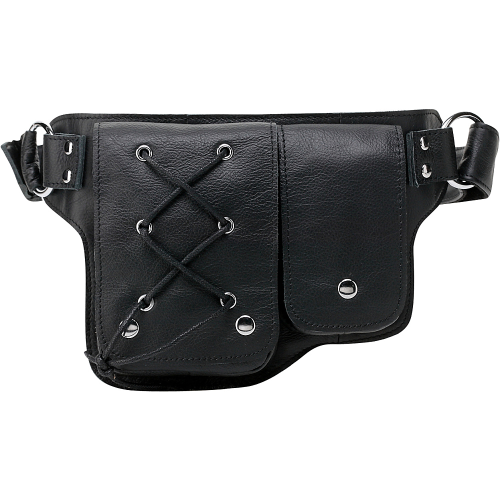 Vicenzo Leather Yvette Leather Waist Pack Black Vicenzo Leather Waist Packs