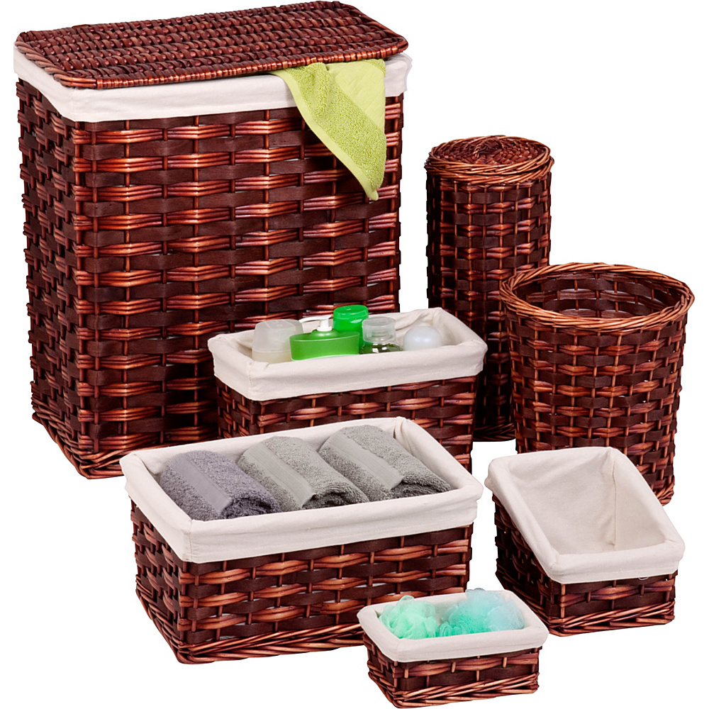 Honey Can Do 7 Piece Wicker Hamper Kit brown Honey Can Do Travel Health Beauty