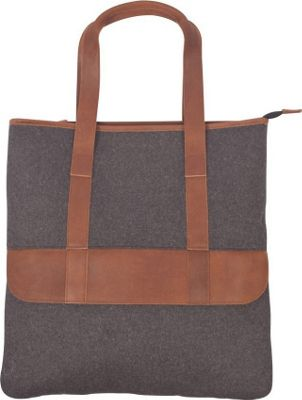 Canyon Outback Bentley 17-inch Wool and Leather Tote Bag Grey and Tan - Canyon Outback Leather Handbags