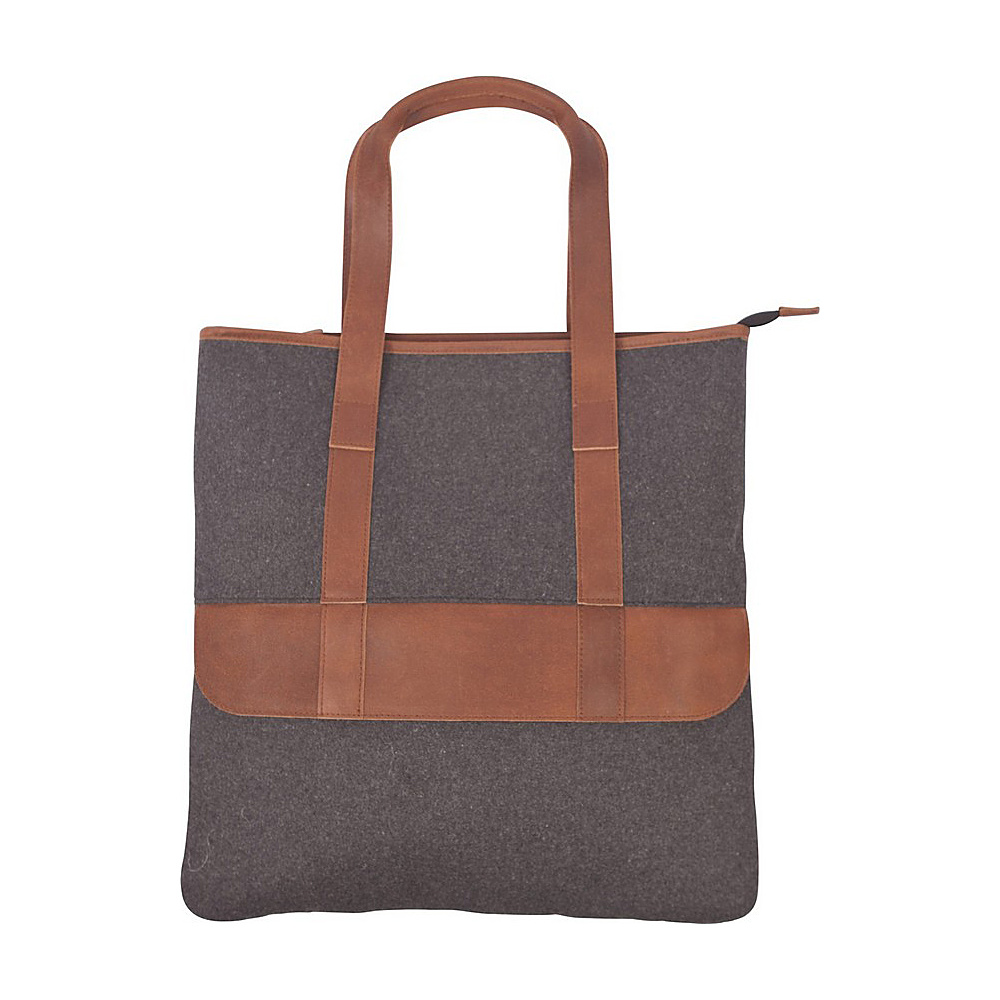 Canyon Outback Bentley 17 inch Wool and Leather Tote Bag Grey and Tan Canyon Outback Leather Handbags
