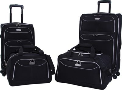 Bob Mackie Four Piece Set Black/Silver - Bob Mackie Luggage Sets