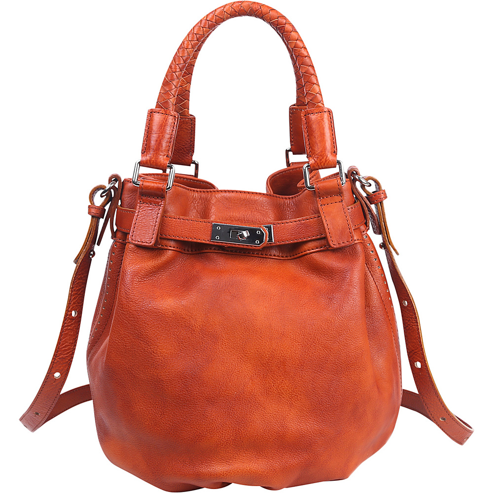 Old Trend Pumpkin Bucket Bag Cognac Old Trend Leather Handbags