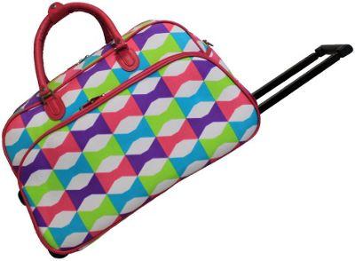 "World Traveler Blissful 21"""" Rolling Duffel Bag Pink Trim Blissful - World Traveler Rolling Duffels"