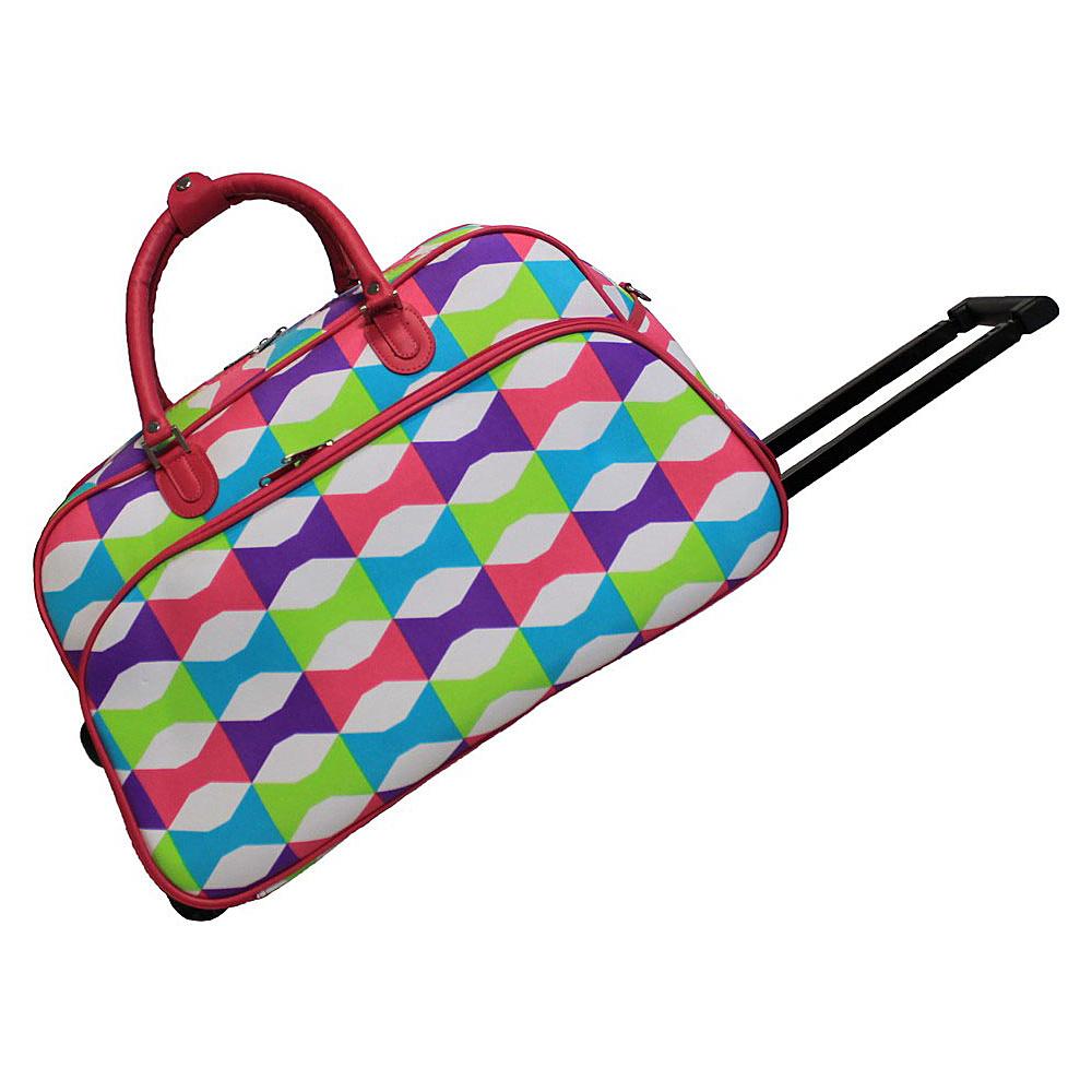 World Traveler Blissful 21 Rolling Duffel Bag Pink Trim Blissful - World Traveler Rolling Duffels - Luggage, Rolling Duffels