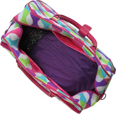"World Traveler Blissful 21"""" Rolling Duffel Bag Pink Trim Blissful - World Traveler Rolling Duffels"