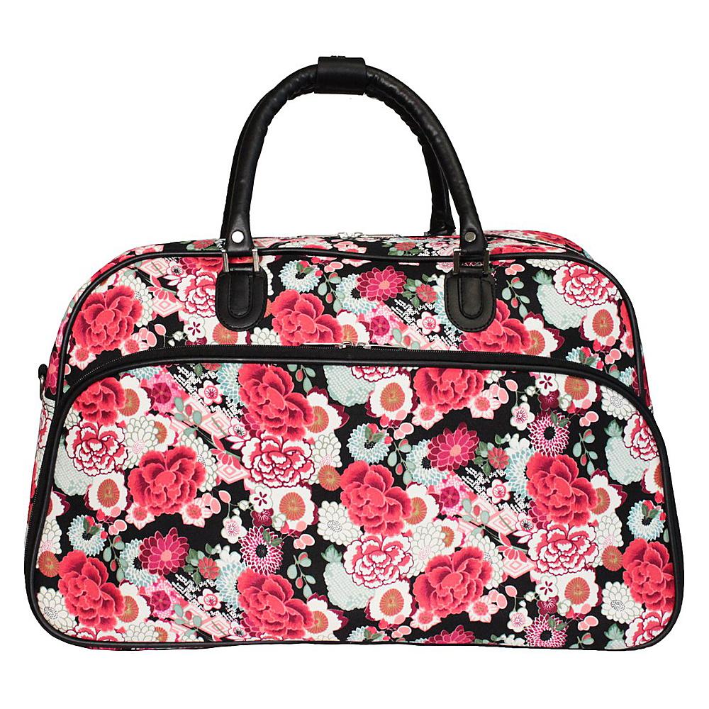 World Traveler Flower 21 Carry-On Duffel Bag Red Flower - World Traveler Rolling Duffels - Luggage, Rolling Duffels