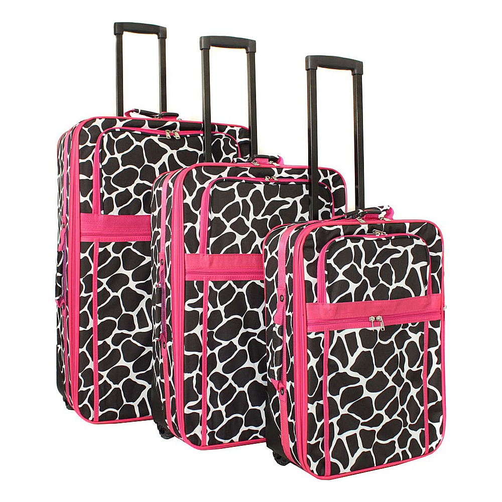 World Traveler Giraffe 3-Piece Expandable Upright Luggage Set Fuchsia Trim Giraffe - World Traveler Luggage Sets - Luggage, Luggage Sets