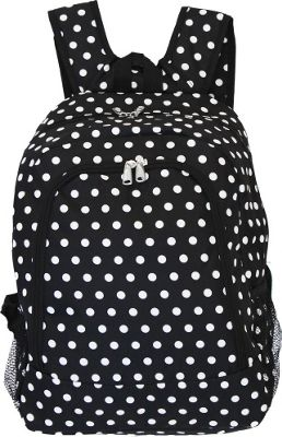 World Traveler Dots 16 inch Multipurpose Backpack Black White Dot - World Traveler Everyday Backpacks