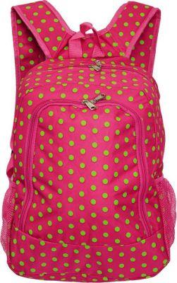 World Traveler Dots 16 inch Multipurpose Backpack Fuchsia Lime Dot - World Traveler Everyday Backpacks