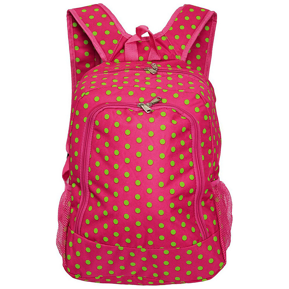 World Traveler Dots 16 Multipurpose Backpack Fuchsia Lime Dot World Traveler Everyday Backpacks