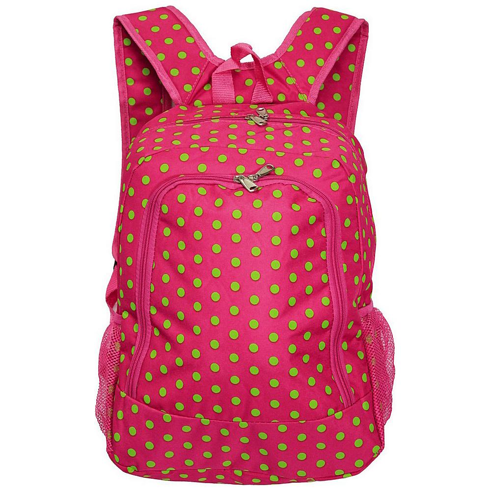 World Traveler Dots 16 Multipurpose Backpack Fuchsia Lime Dot - World Traveler Everyday Backpacks - Backpacks, Everyday Backpacks