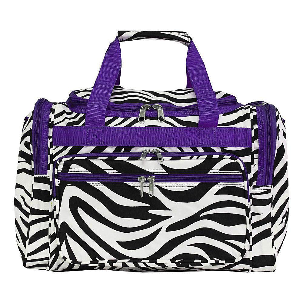 World Traveler Zebra 16 Shoulder Duffle Bag Dark Purple Trim Zebra - World Traveler Rolling Duffels - Luggage, Rolling Duffels