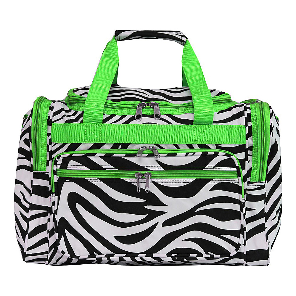 World Traveler Zebra 16 Shoulder Duffle Bag Green Trim Zebra - World Traveler Rolling Duffels - Luggage, Rolling Duffels