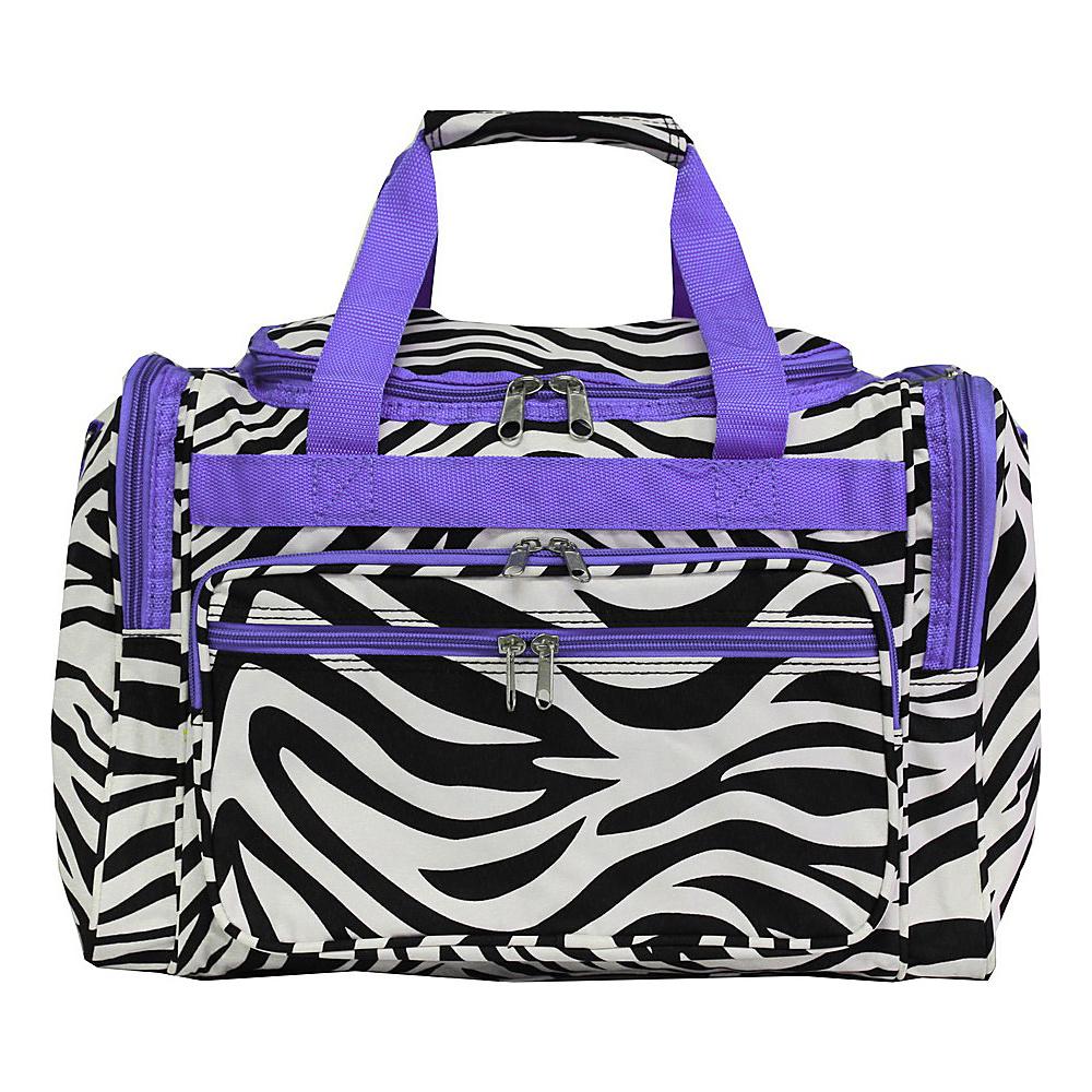 World Traveler Zebra 16 Shoulder Duffle Bag Light Purple Trim Zebra - World Traveler Rolling Duffels - Luggage, Rolling Duffels