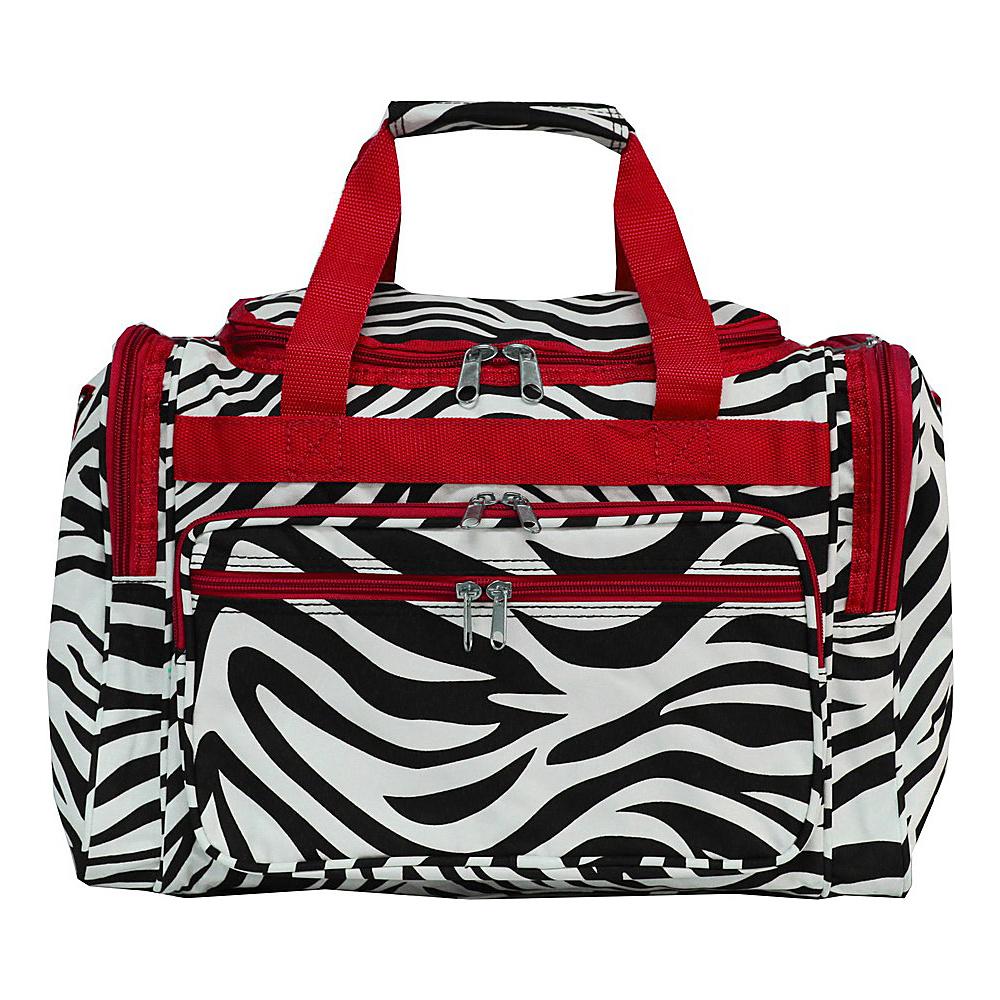 World Traveler Zebra 16 Shoulder Duffle Bag Red Trim Zebra - World Traveler Rolling Duffels - Luggage, Rolling Duffels