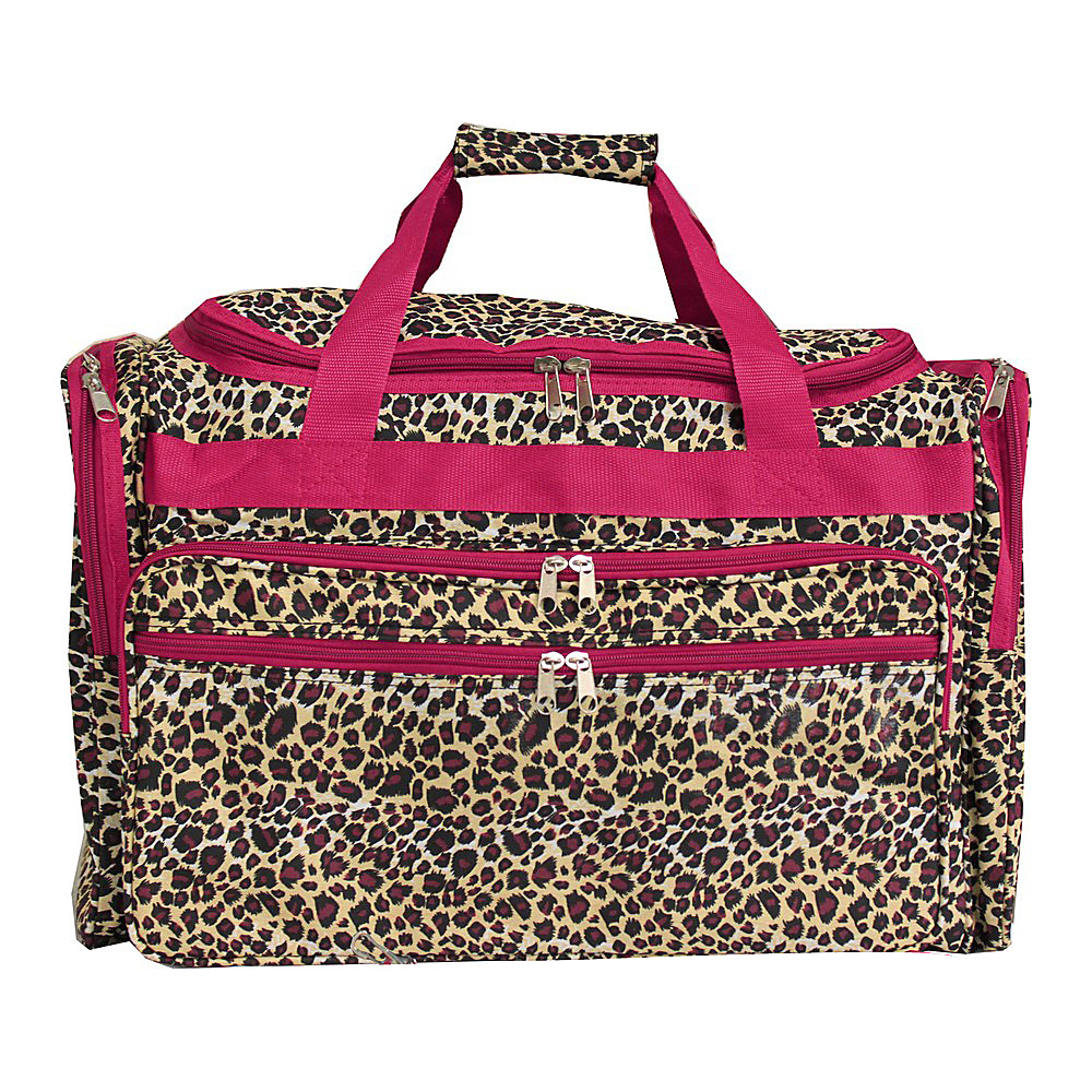 World Traveler Leopard 19 Shoulder Duffle Bag Pink Trim Leopard - World Traveler Rolling Duffels - Luggage, Rolling Duffels