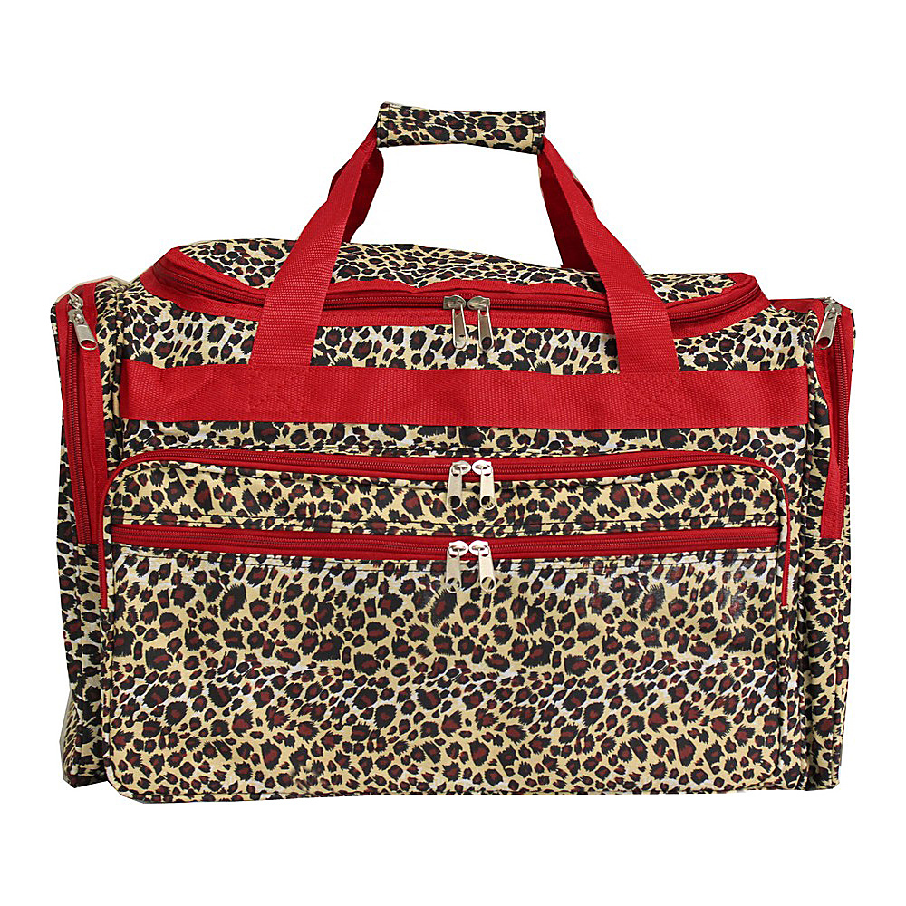 World Traveler Leopard 19 Shoulder Duffle Bag Red Trim Leopard - World Traveler Rolling Duffels - Luggage, Rolling Duffels