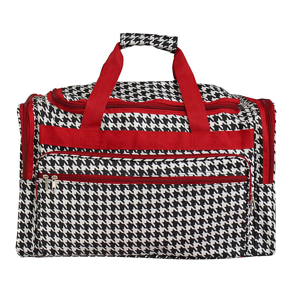 World Traveler Houndstooth 19 Shoulder Duffle Bag Red Trim Houndstooth - World Traveler Rolling Duffels - Luggage, Rolling Duffels