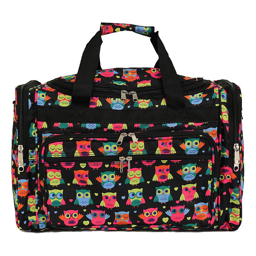 """World Traveler Owl 22"""" Travel Duffle Bag Owl Black - World Traveler Rolling Duffels"""
