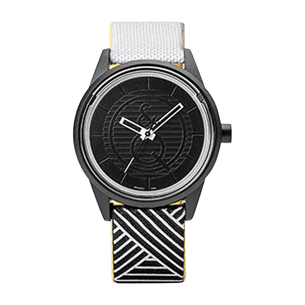 Q & Q Smile Solar Women's Sporty Print Watch Black/White Criss Cross - Q & Q Smile Solar Watches