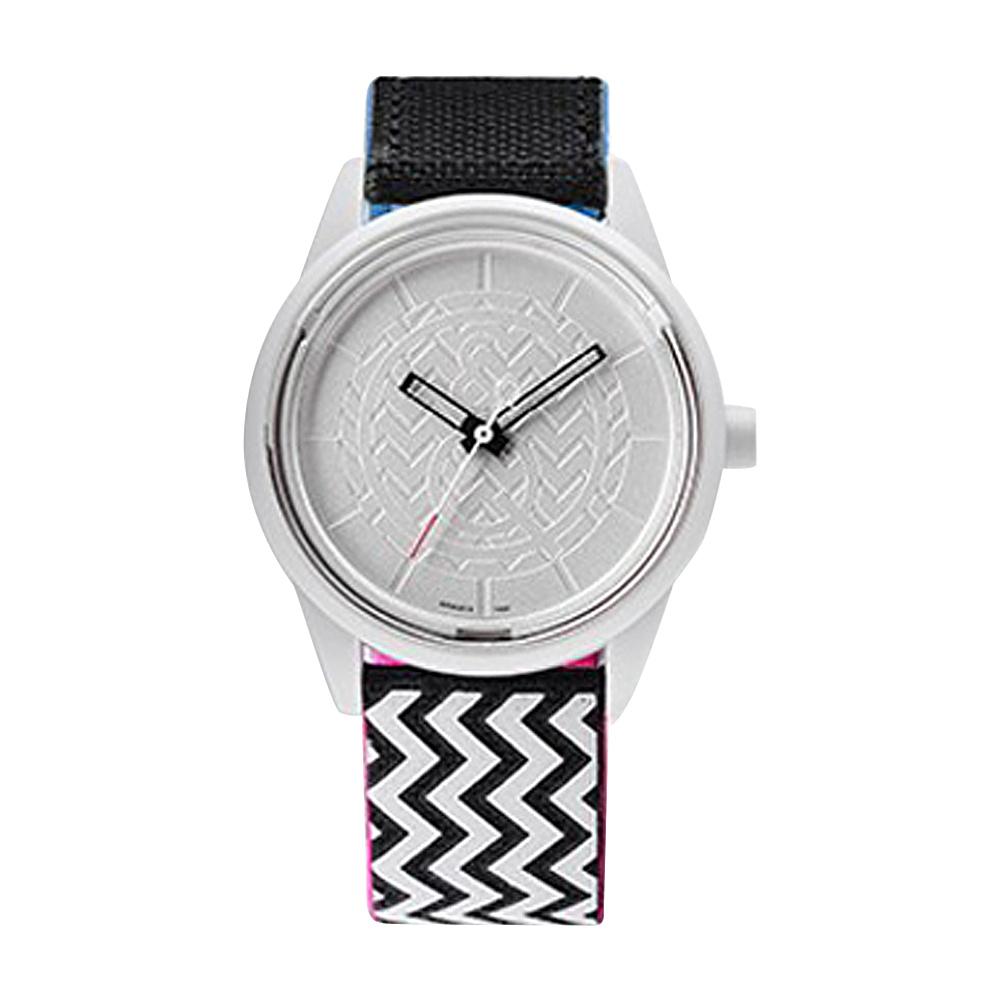 Q & Q Smile Solar Women's Sporty Print Watch Black/White Zig Zag - Q & Q Smile Solar Watches