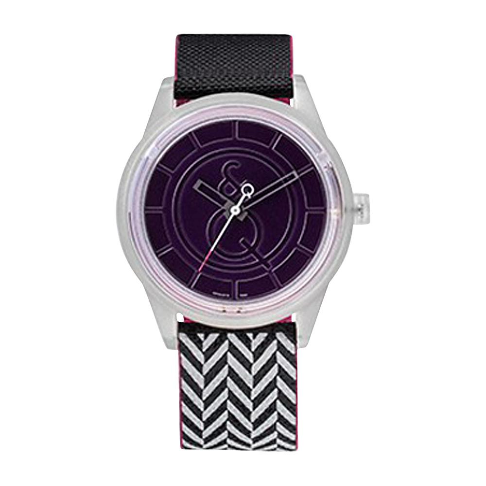 Q & Q Smile Solar Women's Sporty Print Watch Black/White Stripe - Q & Q Smile Solar Watches