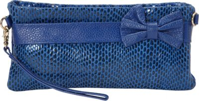 Nala Russo Sophie Mini Pouch with Bow Accent Blue - Nala Russo Manmade Handbags
