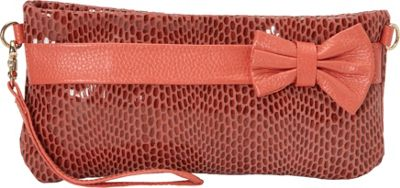 Nala Russo Sophie Mini Pouch with Bow Accent Coral - Nala Russo Manmade Handbags