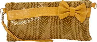 Nala Russo Sophie Mini Pouch with Bow Accent Yellow - Nala Russo Manmade Handbags