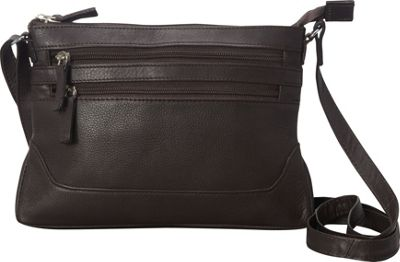 R & R Collections Soft Drum Dyed Leather 3 Zip Crossbody with Bottom Gusset Brown - R & R Collections Leather Handbags