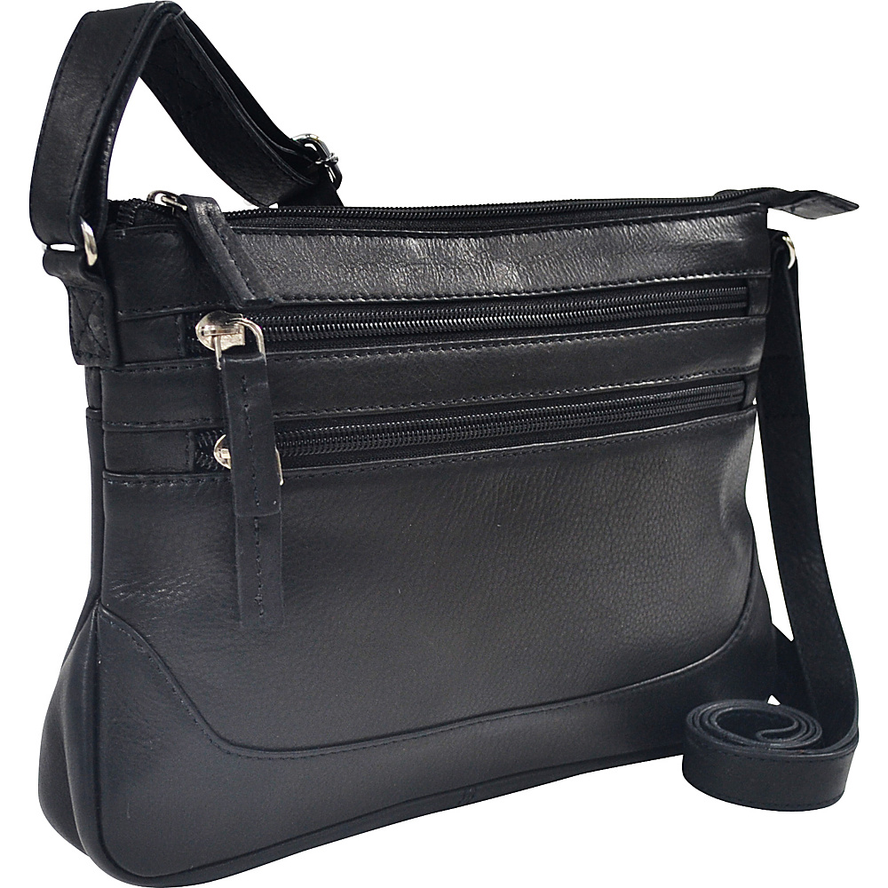 R R Collections Soft Drum Dyed Leather 3 Zip Crossbody with Bottom Gusset Black R R Collections Leather Handbags
