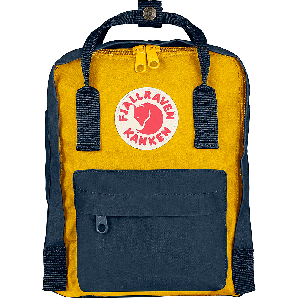 Fjallraven Kanken Mini Backpack Navy-Warm Yellow - Fjallraven Everyday Backpacks