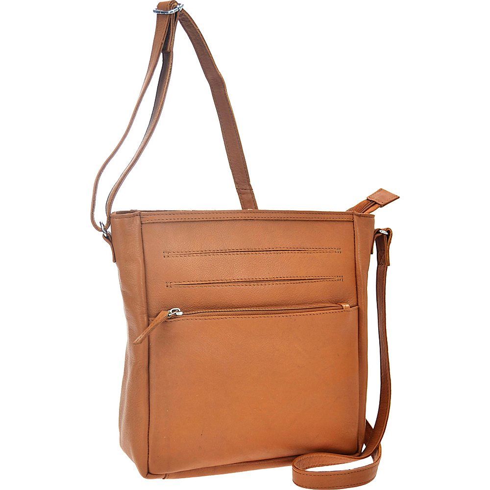 R R Collections Leather Top Zip Pocket Crossbody TAN R R Collections Leather Handbags
