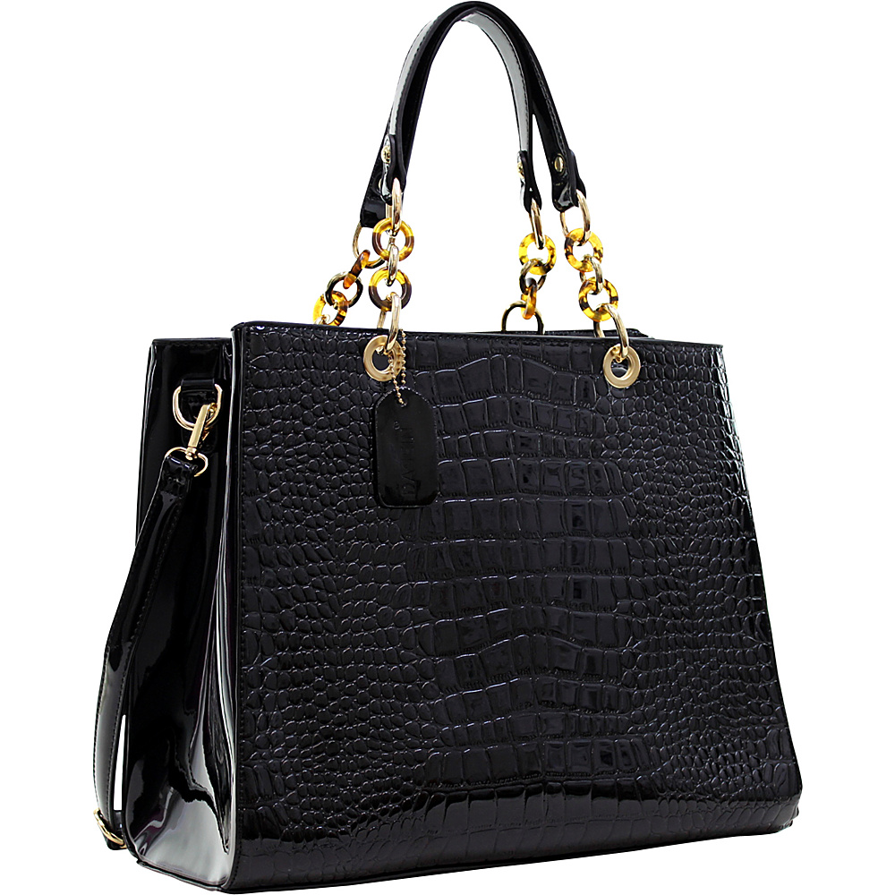 Dasein Patent Croco Embossed Faux Leather Chain Strap Satchel Black - Dasein Manmade Handbags - Handbags, Manmade Handbags