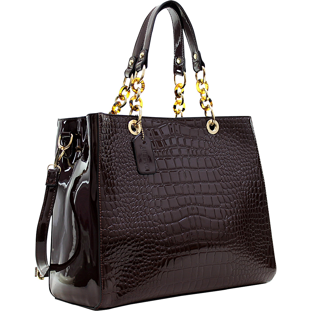 Dasein Patent Croco Embossed Faux Leather Chain Strap Satchel Coffee - Dasein Manmade Handbags - Handbags, Manmade Handbags