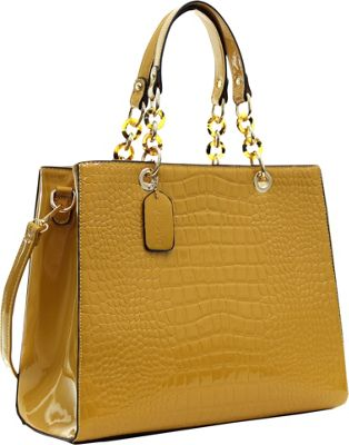 Dasein Patent Croco Embossed Faux Leather Chain Strap Satchel Tan - Dasein Manmade Handbags