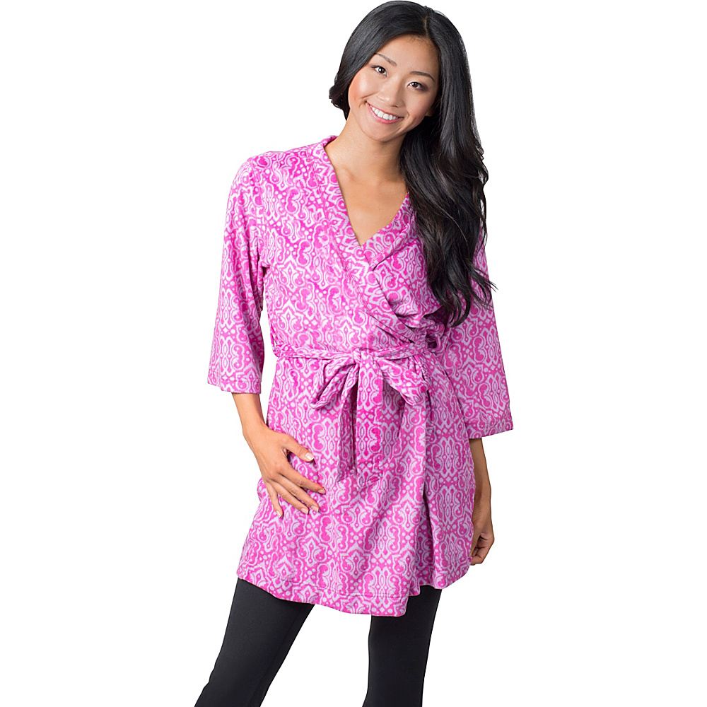 Soybu Fleece Spa Robe S M Purple Script Soybu Women s Apparel