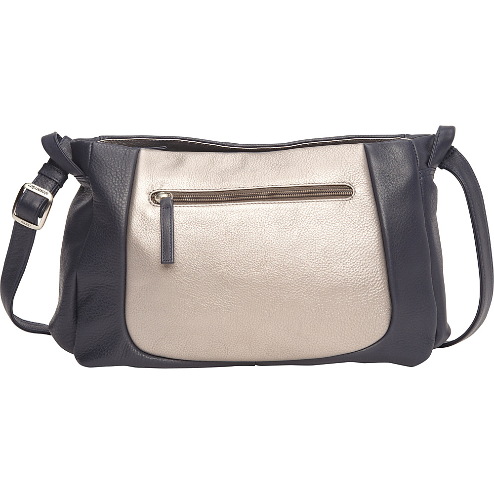 Derek Alexander EW Crossbody Three Comp w/ Organizer Navy/Silver - Derek Alexander Leather Handbags - Handbags, Leather Handbags