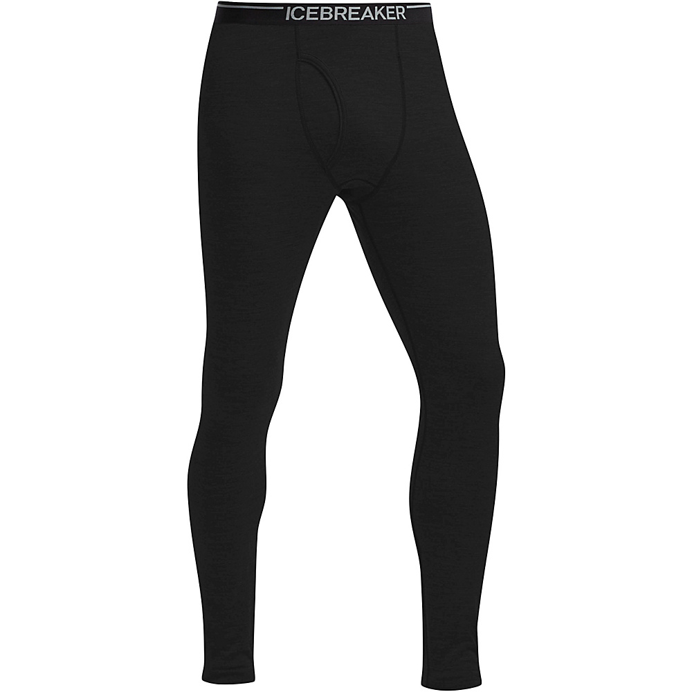 Icebreaker Mens Oasis Leggings with Fly 2XL - Black - Icebreaker Mens Apparel - Apparel & Footwear, Men's Apparel