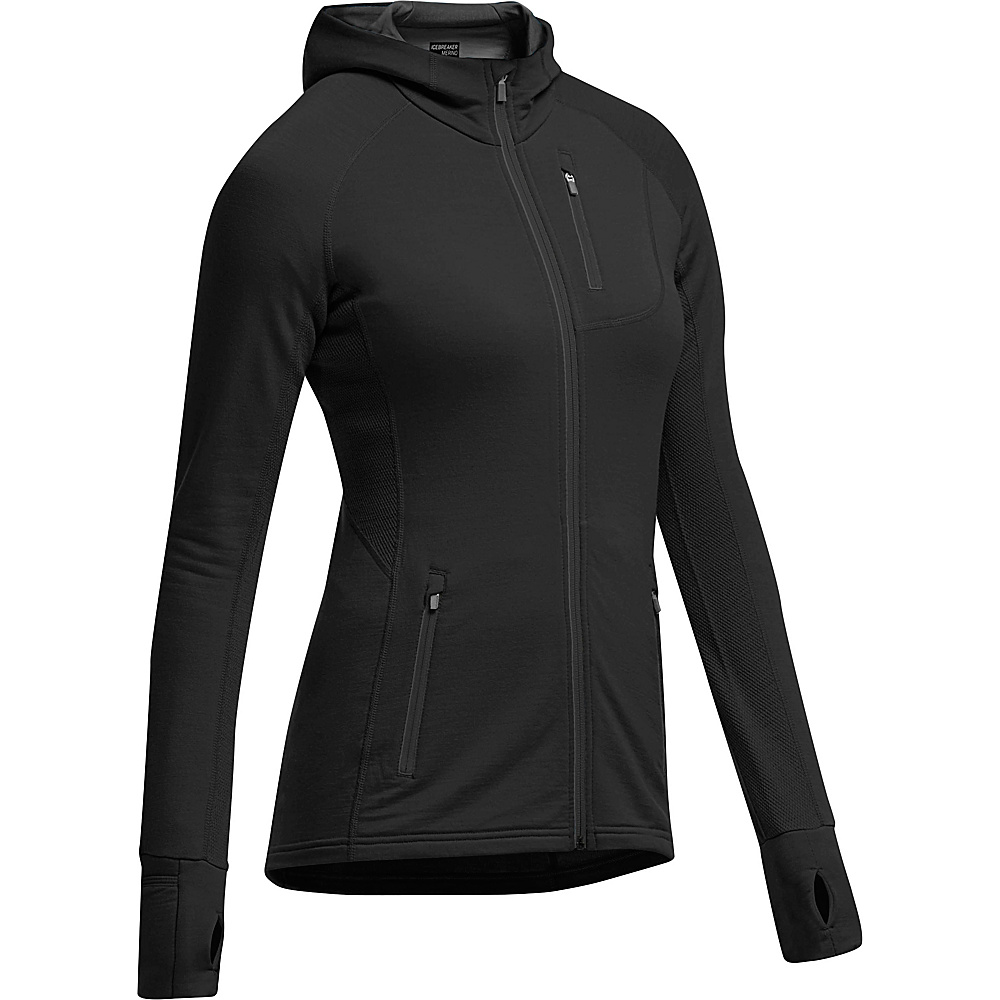 Icebreaker Womens Quantum LS Zip Hooded Jacket XS - Black/Black/Black - Icebreaker Womens Apparel - Apparel & Footwear, Women's Apparel