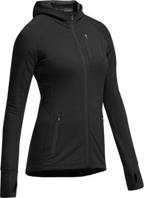 Icebreaker Women's Quantum LS Zip Hooded Jacket L - Black/Black/Black - Icebreaker Women's Apparel