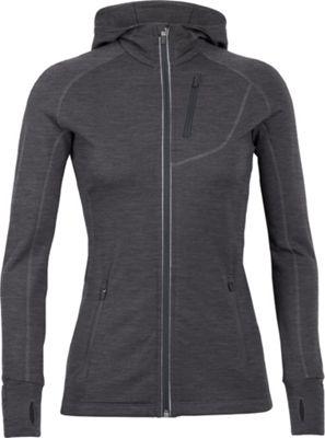 Icebreaker Women's Quantum LS Zip Hooded Jacket XL - Black/Black/Black - Icebreaker Women's Apparel