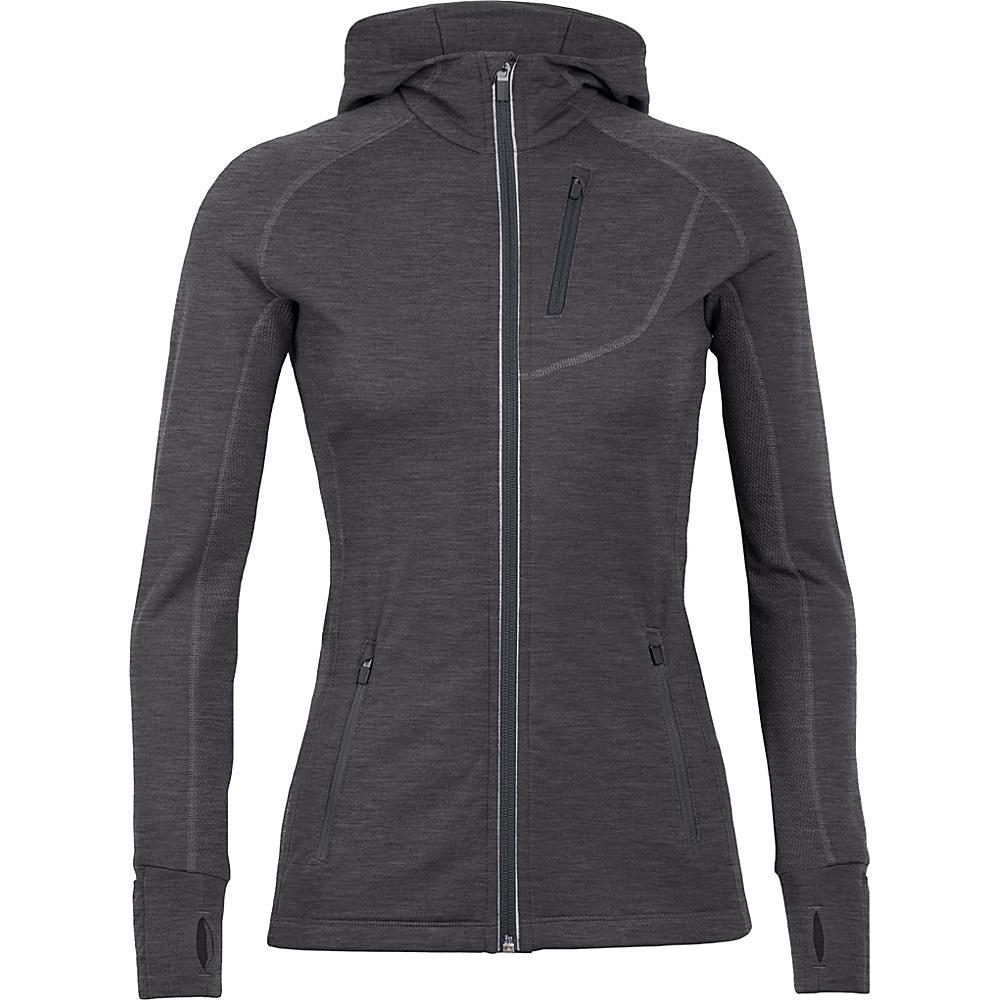 Icebreaker Womens Quantum LS Zip Hooded Jacket XL - Black/Black/Black - Icebreaker Womens Apparel - Apparel & Footwear, Women's Apparel